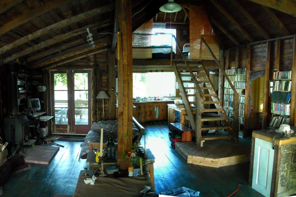 Interior of cottage showing loft bedroom