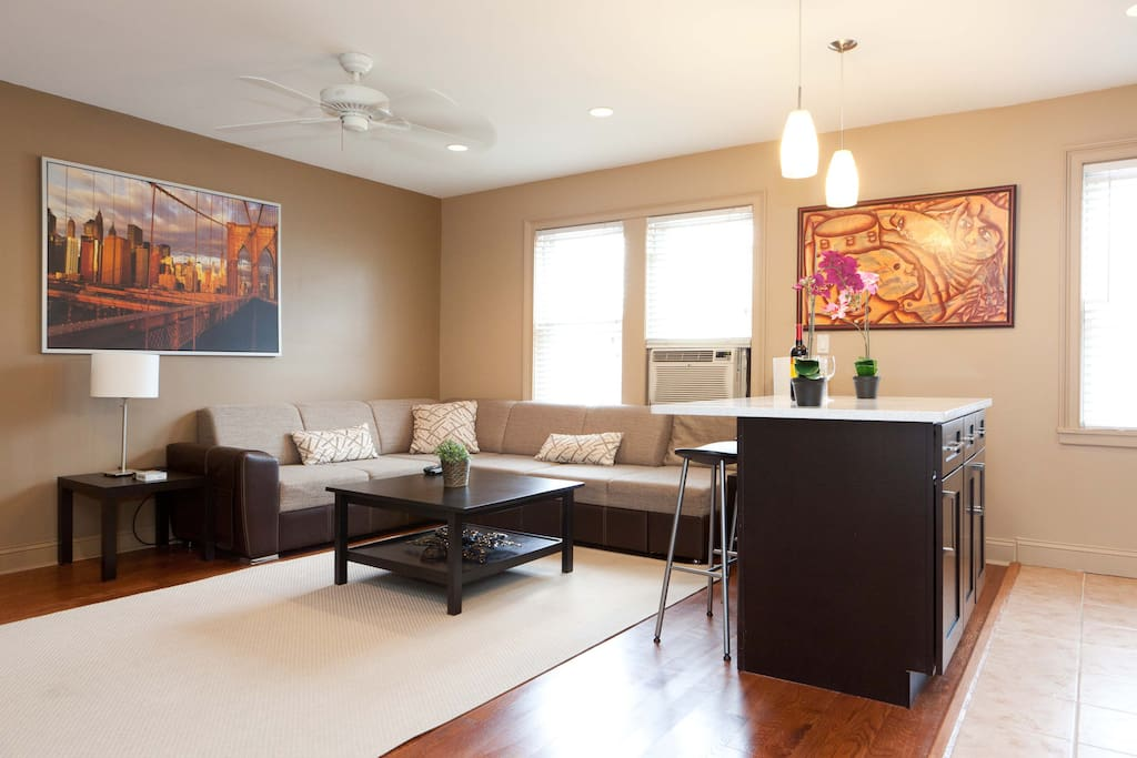 Spacious living room and open concept kitchen