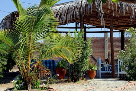The guest house is located 100m from the beach. Have 5 rooms, with private bath. The price included breakfast with fruit fresh. There is a cozy area for relaxing and reading, hammocks,  garden with a barbeque is on your disposal,  free parking place. The room have a shower with hot water, fan, TV with DVD, frigobar, closet, terrace and wi fi.  The área of the room is aprox. 30m2. The location is far from the bares, restaurants and all places noisy. There is a kitchen, paying US$1. per day.