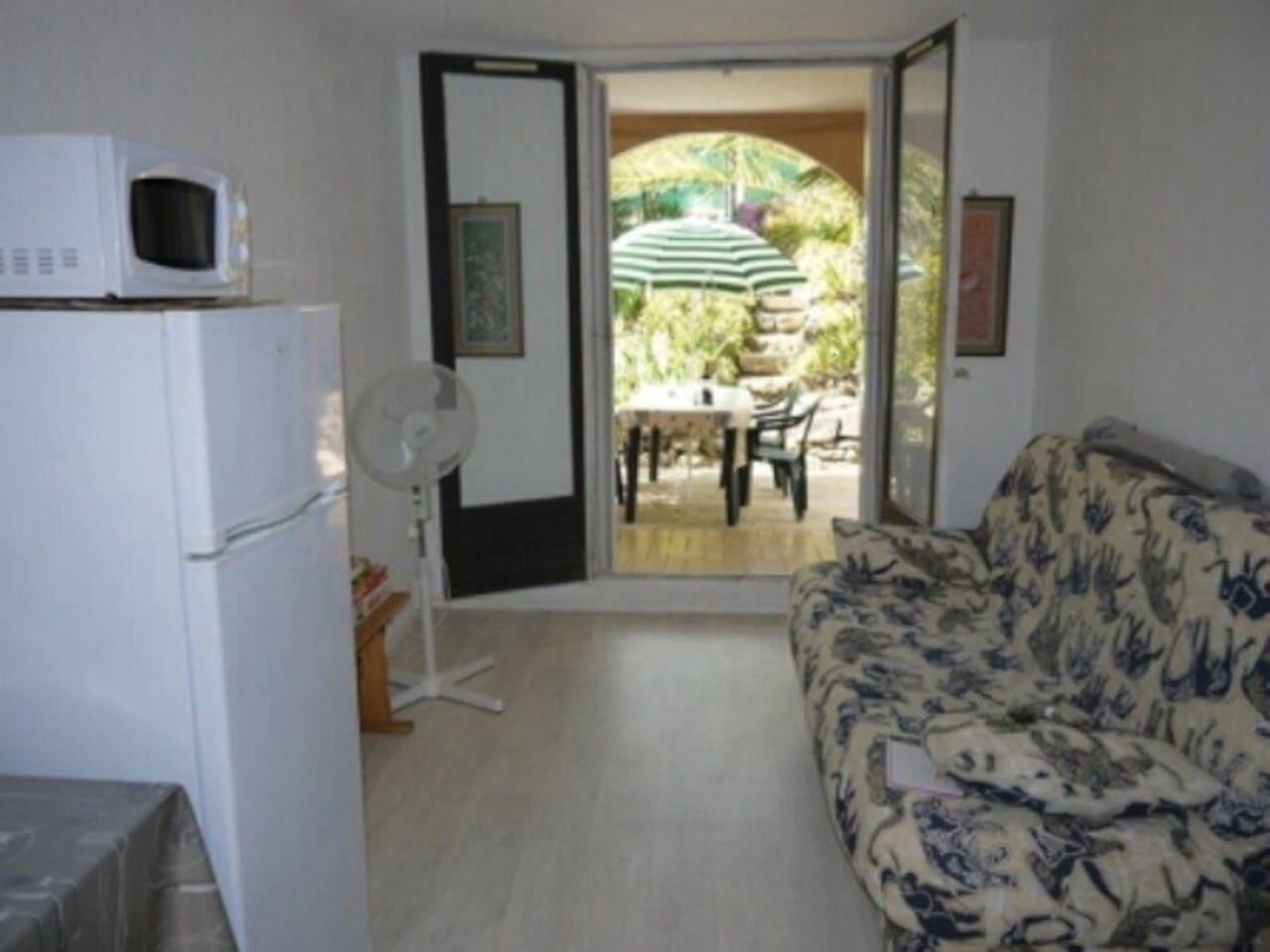 Sofa bed, fridge, microwave, patio, garden