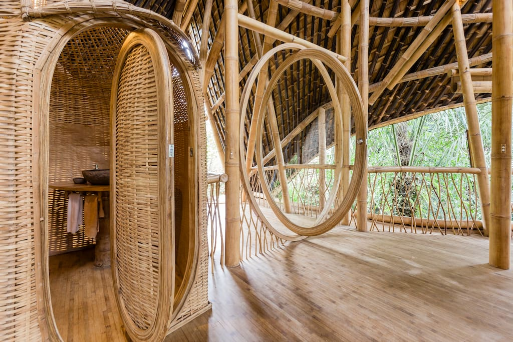 A moon front door is a feature of our bamboo houses
