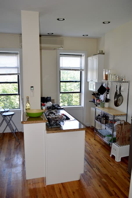 Kitchen. TONS of natural light in the apartment.