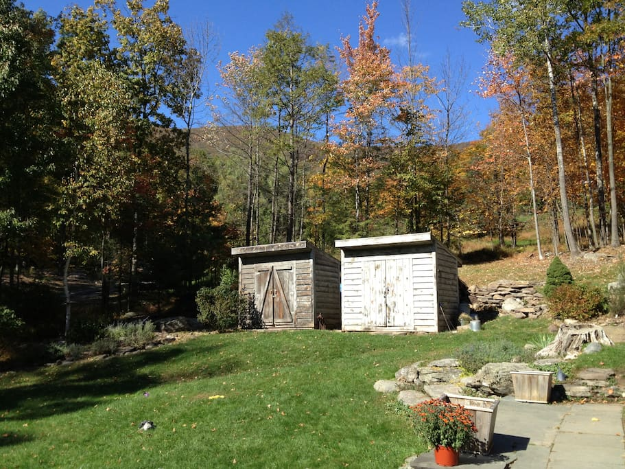 Big yard with views of Overlook Mountain and sounds of the stream.