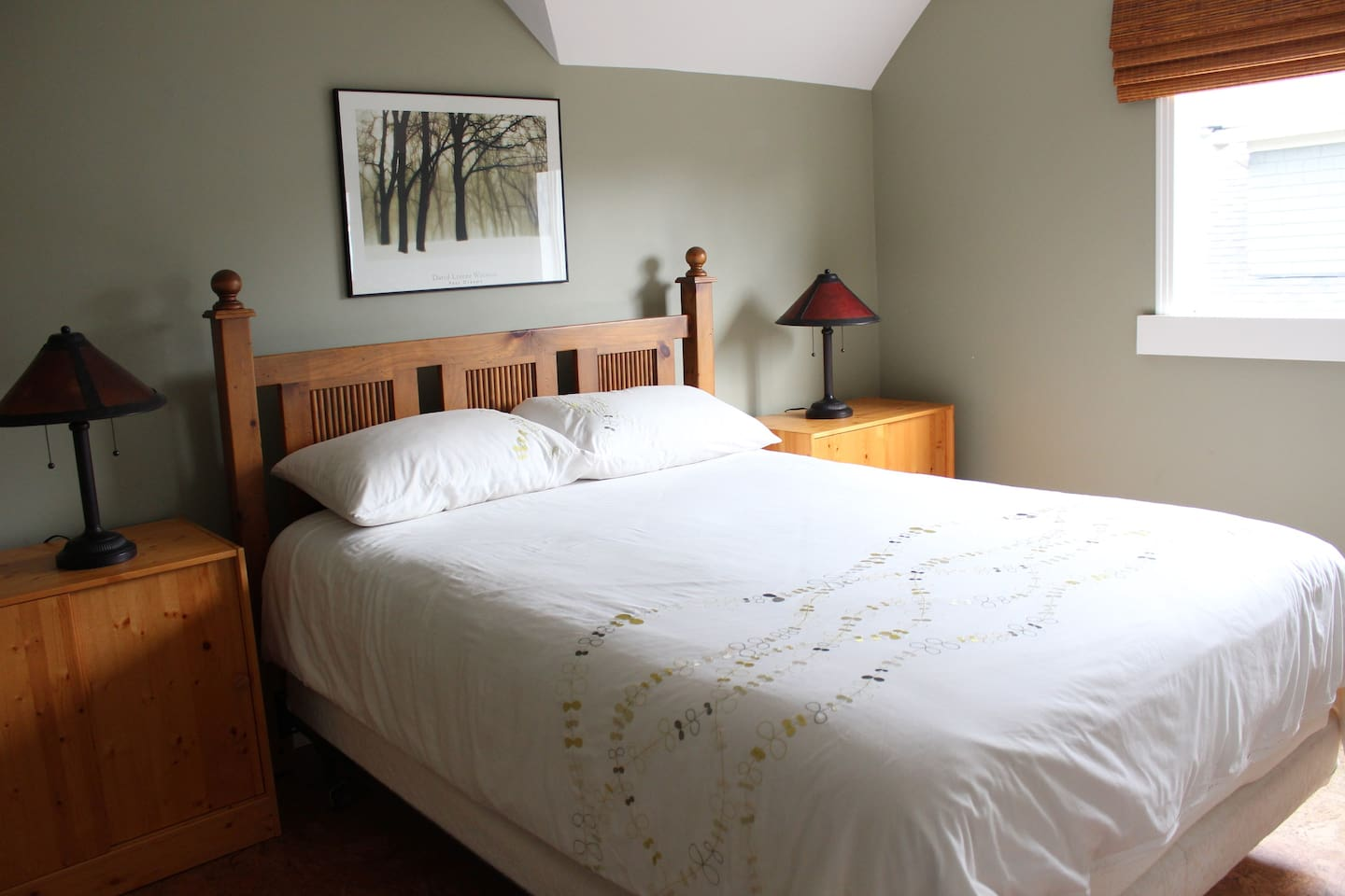 Extremely comfy queen size bed in your private room.