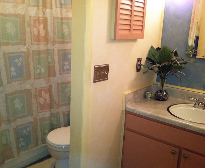 The main bathroom with tub & shower. During your stay it's virtually your personal bathroom.