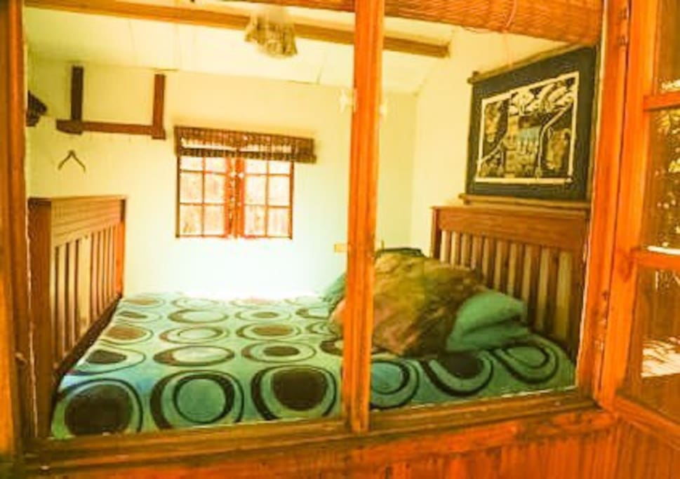WOODEN CABIN DOUBLE BED SHARED ABLUTIONS COMMUNAL KITCHEN BRAAI AREA