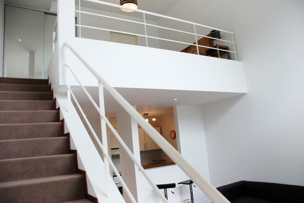 Stairs to the dorm and the bathroom.