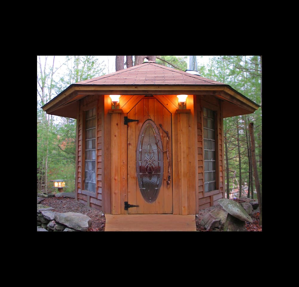 This is the sauna, adjacent and attached to the cabin by a short meandering boardwalk. A healthy relaxing, warm space.