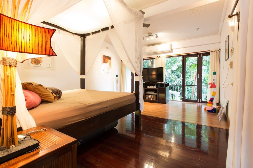 Artful house with a tropical garden