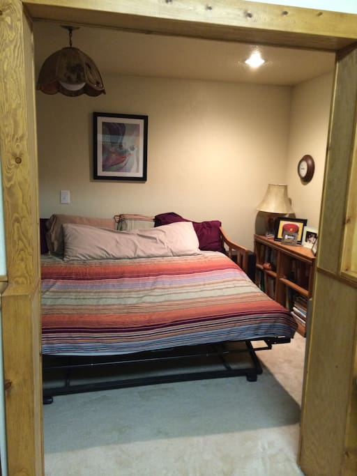 Trundle bed opens to king size or can be two twin size.