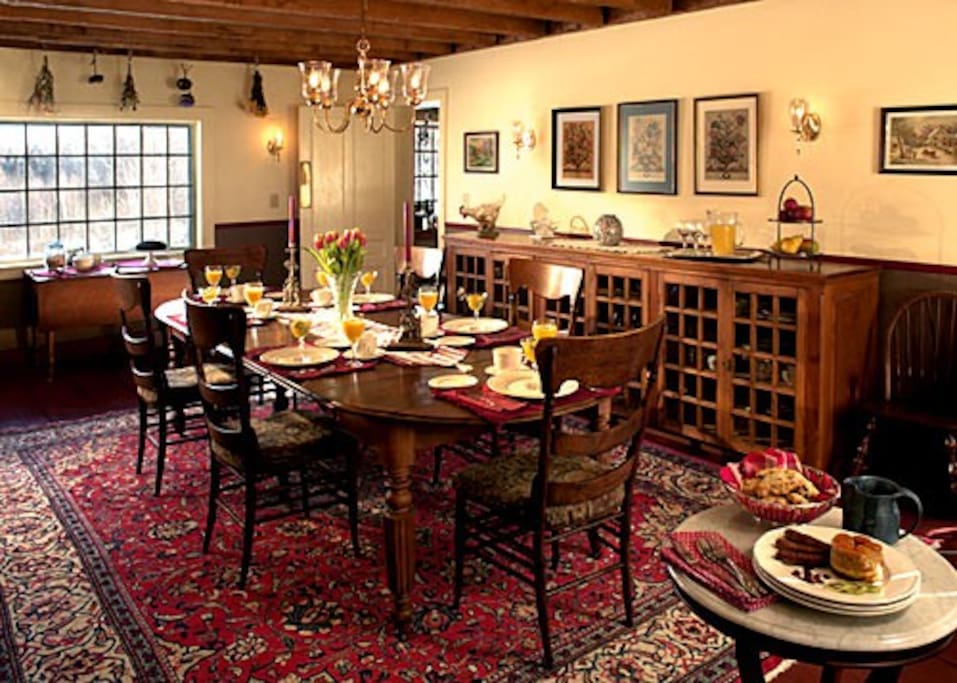 Head out to some of the great restaurants in the area, or stay at home and enjoy the dining room of our 1840's home.