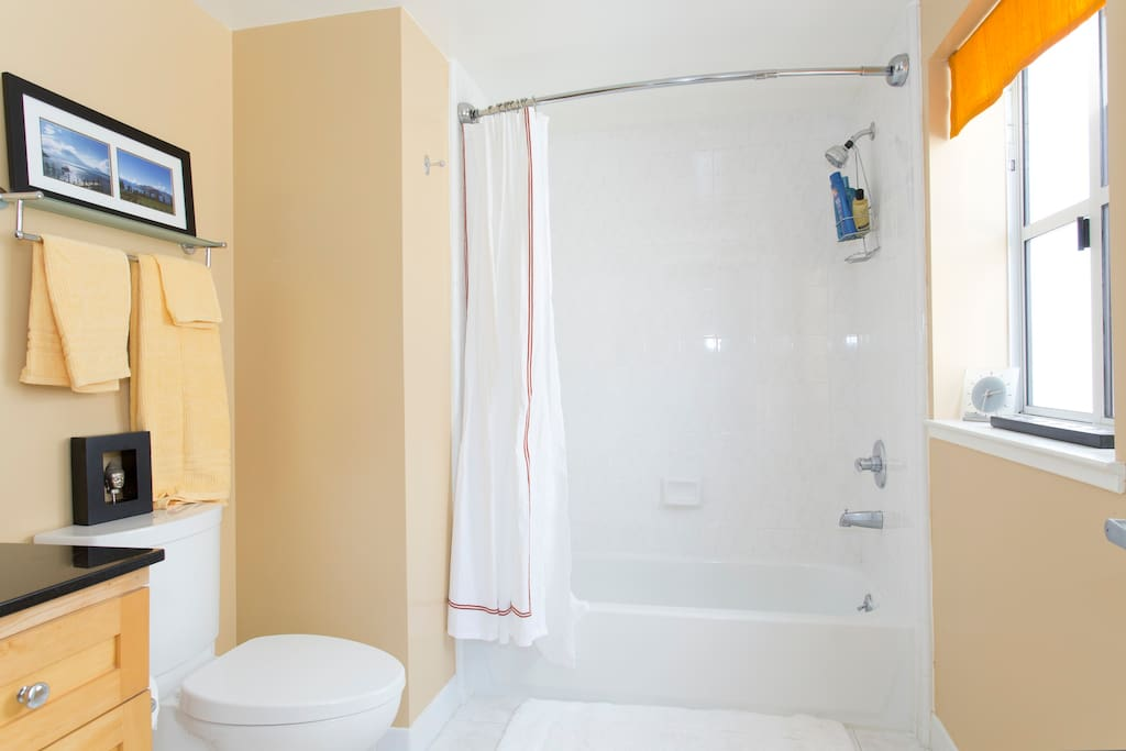 Full bath with tub/shower, linens and hotel-sized soaps, shampoo, conditioner.