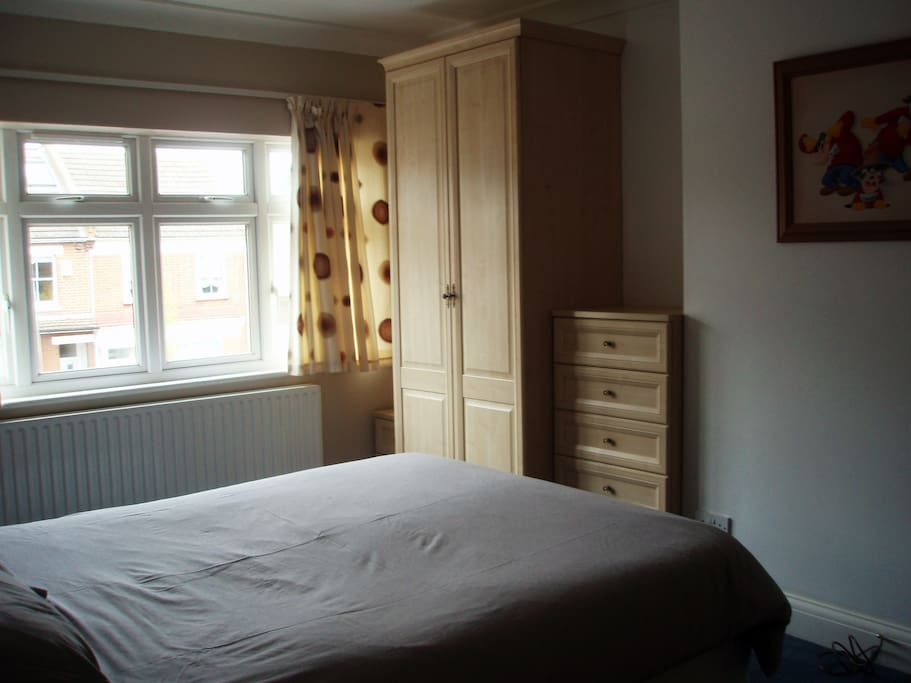 Sunny Double Bedroom with 2 large double wardrobes, drawers and dresser. TV Point