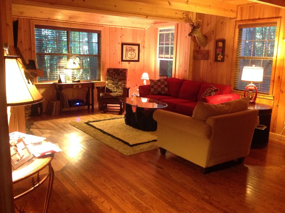 Rustic cabin decor makes for a cozy stay.