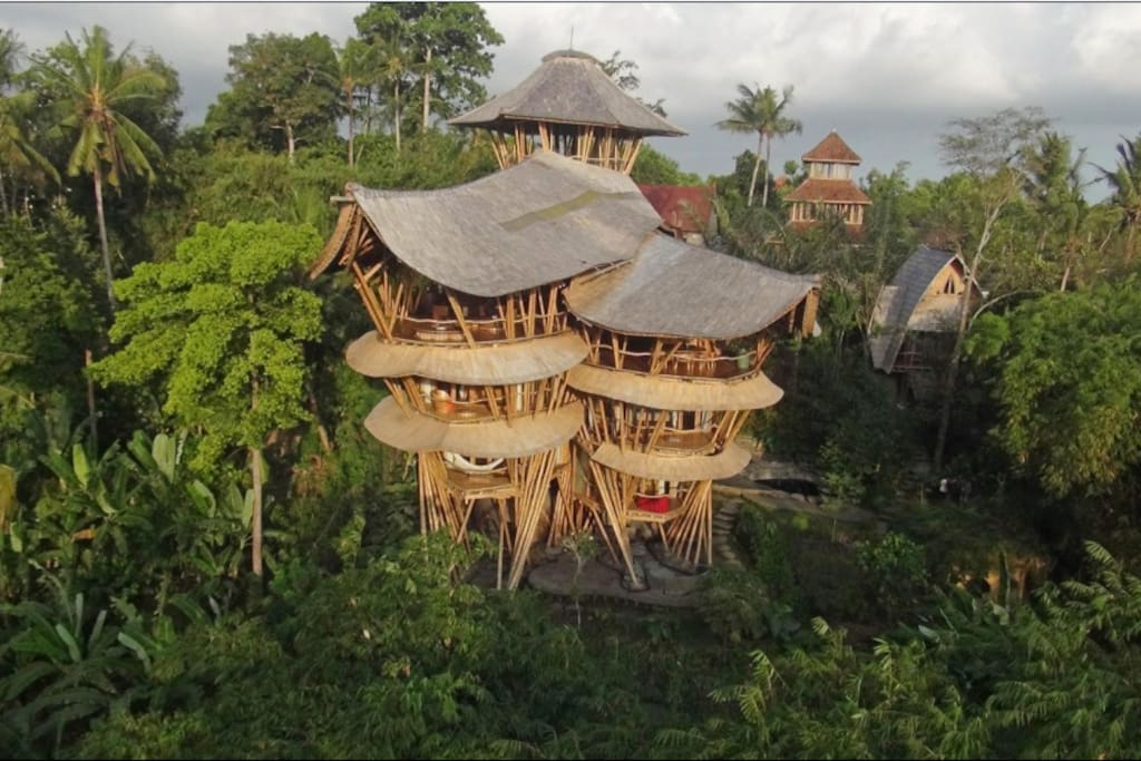 The guest house is in the right background and sits on the same property as the remarkable 6 storey Sharma Springs, made entirely from bamboo