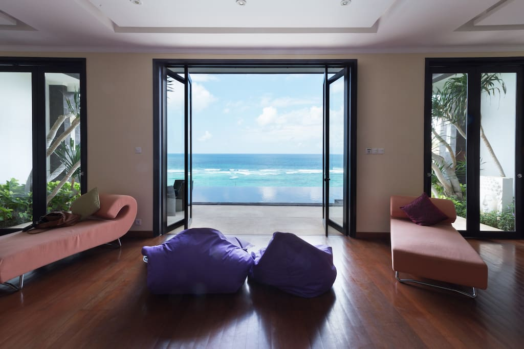 From the living room, you can splay out on a bean bag chair and stare out to sea.