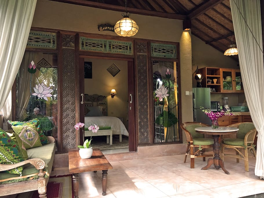 Comfortable terrace at Lotus Cottage
