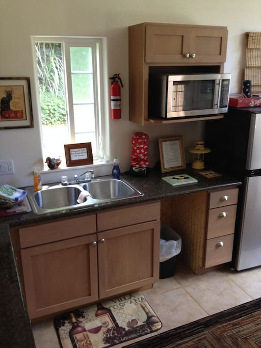 The studio is complete with refrigerator, microwave, convection oven, and cooking burners.