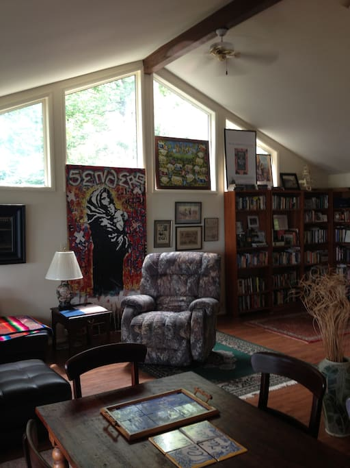 Great Room with hundreds of books and brother's art - don't ask - I don't know what the art means either . . .