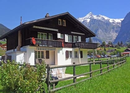 Cosy and well equipped appartment right in the skying or hiking area. Wonderful balcony facing the Eiger north face, in a charming Chalet. The appartment can be combined with two other appartments. Private parking and playground. Private ski depot.