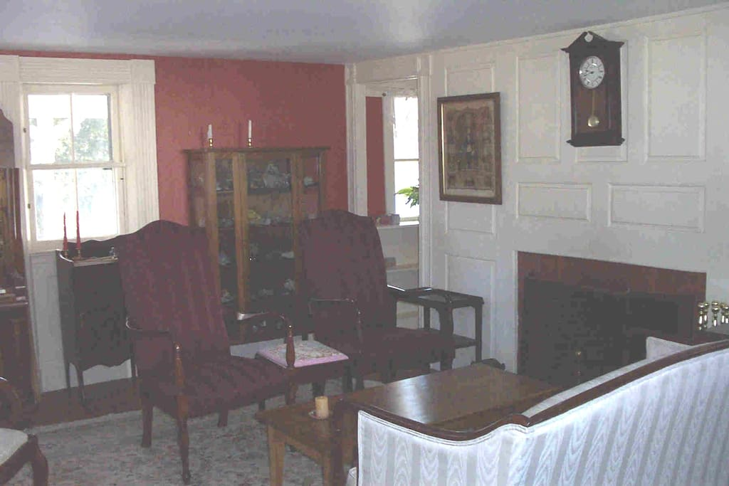 Parlor with working fireplace