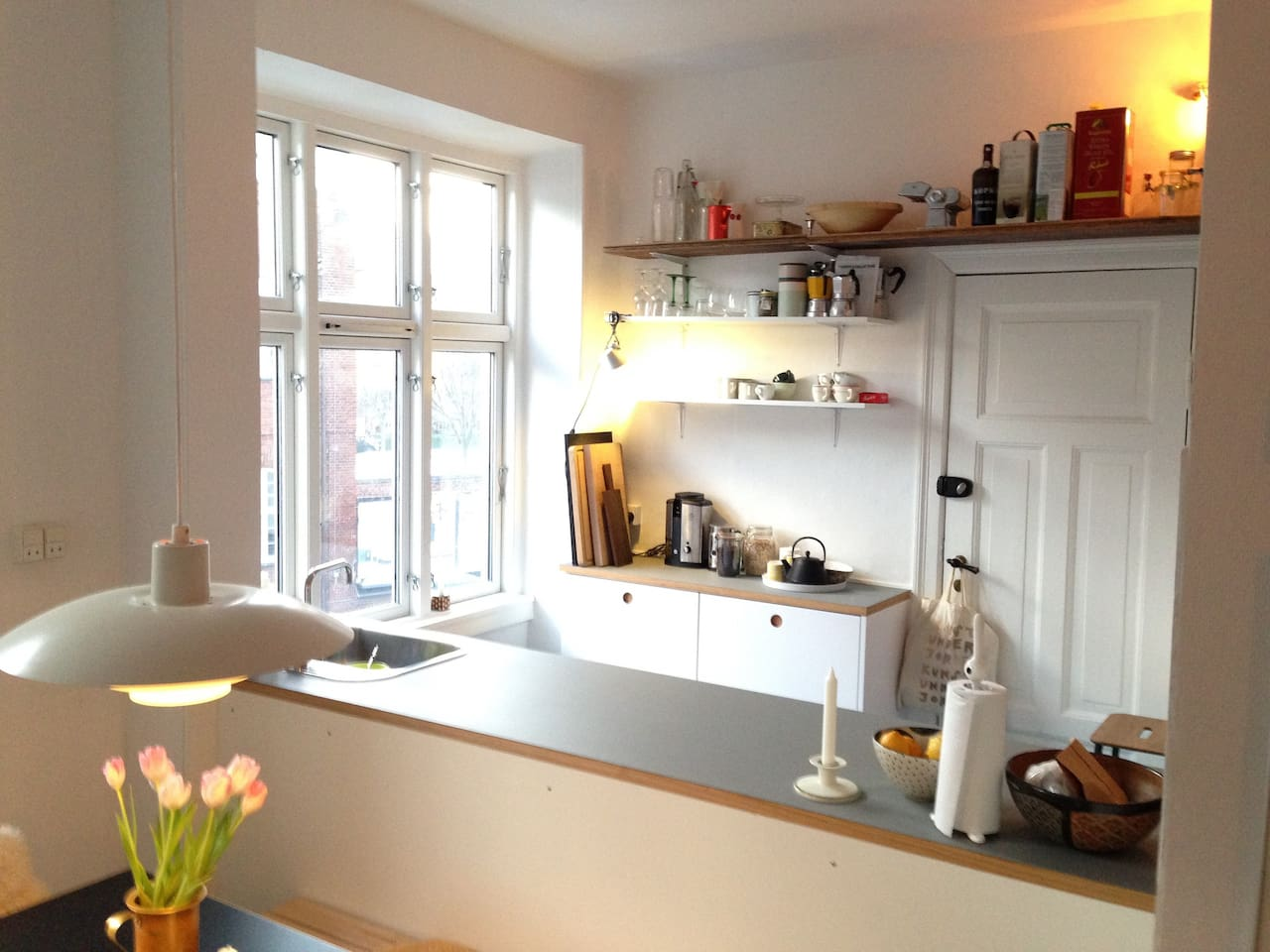 Beautiful open kitchen and dining room - newly refurbished with lots of natural light and scandinavian design and interior