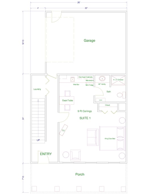 Suite 1 - Floor plan and furniture layout!!  Furnished very nicely and almost 500 SQFT!!