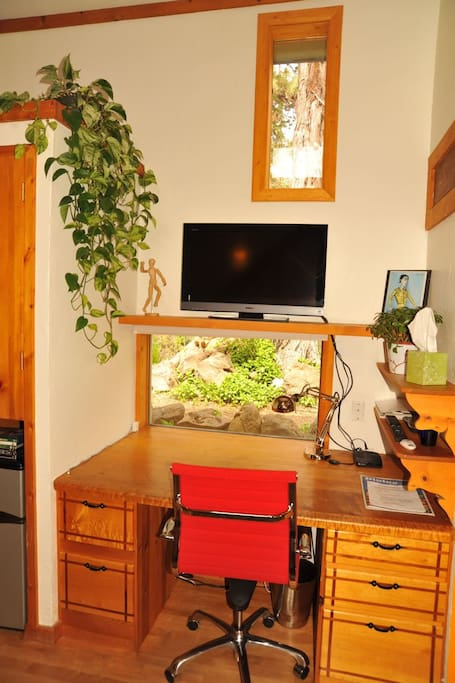 Built-In Desk Area with Flast Screen TV (Cable & Movie Channels)