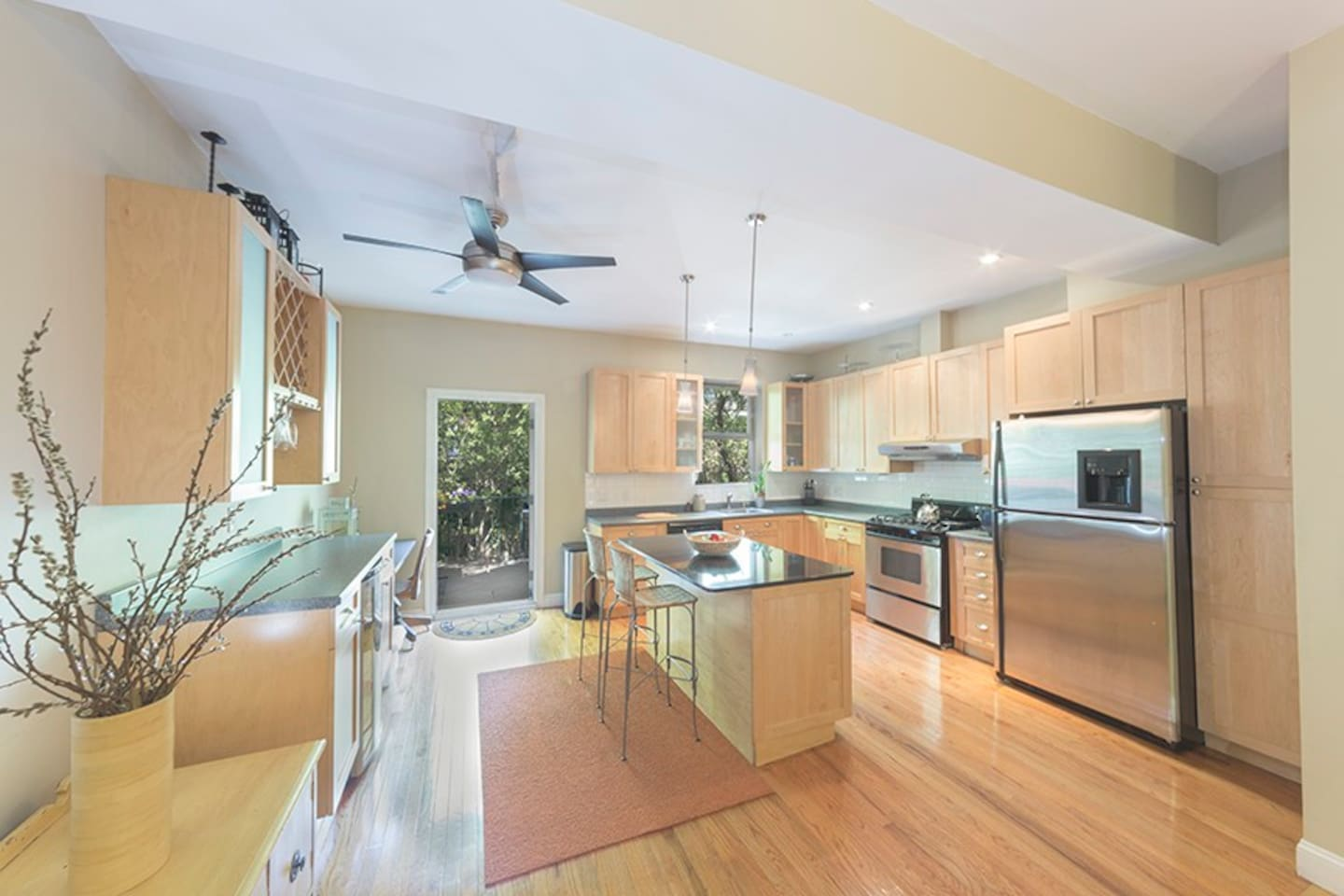 Parlor (second floor) level w/ large open kitchen, terrace and high ceilings