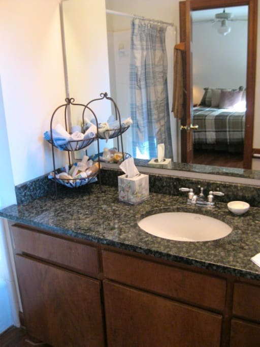 Stone vanity, tile shower, heart pine floors
