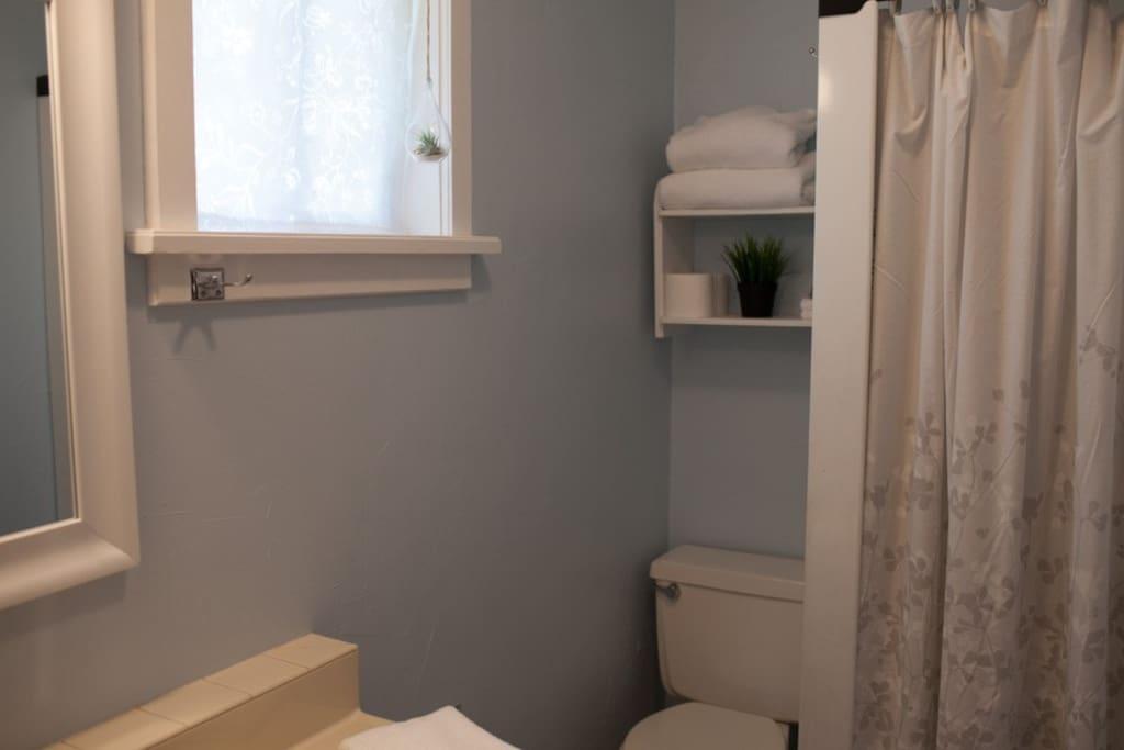 Newly painted bathroom, shower, mirror. Provided: towels, shampoo, tp, hairdryer.