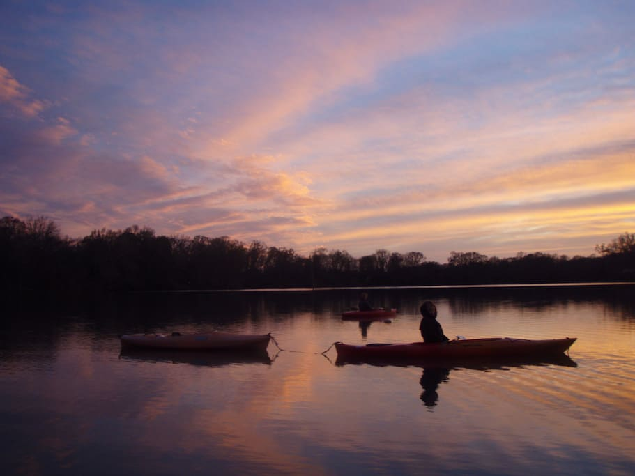 kayaking is outstanding, all day, all night, sunsets are outstanding.