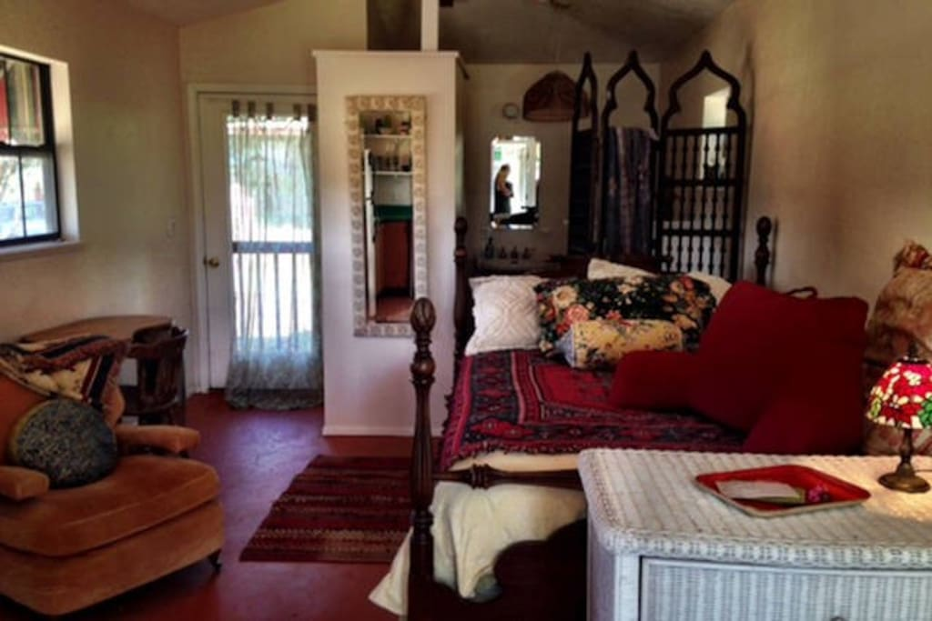 Full size bed, dresser, closet, writing desk,arm chair  ( an extra single in gypsy shed.)