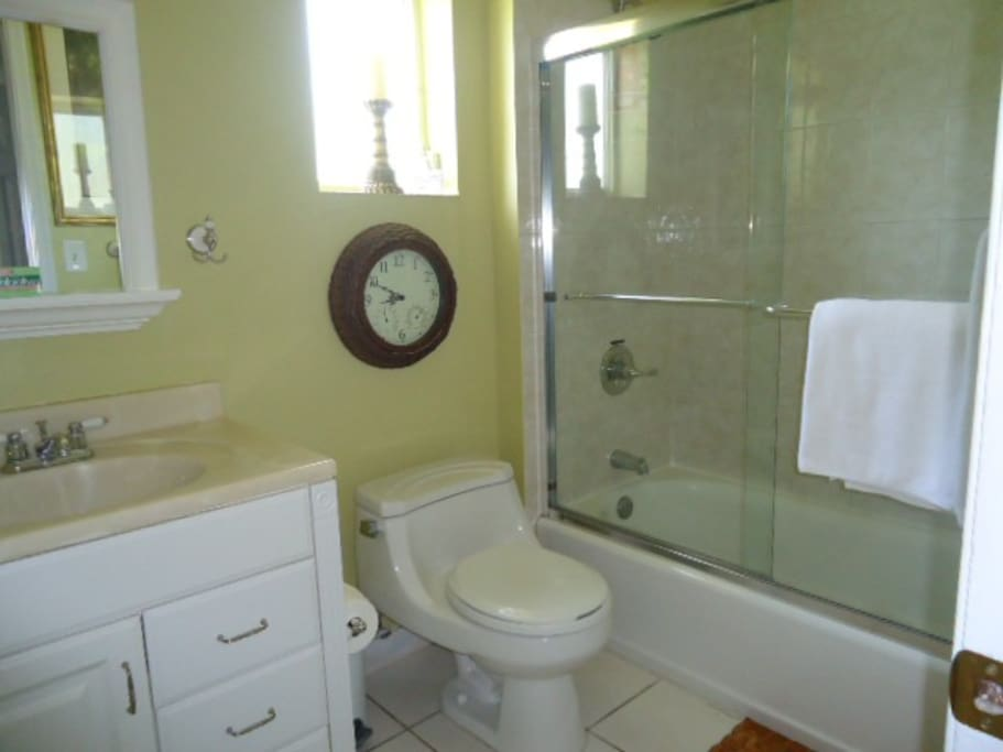 Private Bathroom include towels, hand soap, shampoo and toilet paper.