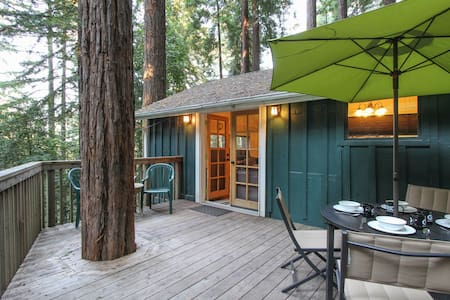 A small and cozy yet modern and well-appointed cabin under full redwood canopy. Perfect for your Russian River or Wine Country visit!