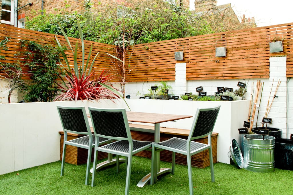 Mediterranean herb garden and outside dining