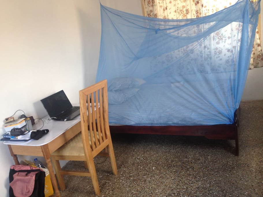 2 size Bed with Mosquito Net and work place