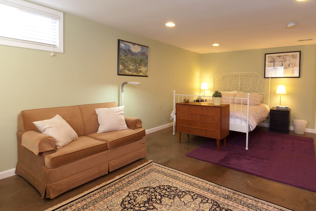 sleeper couch in newly remodeled room