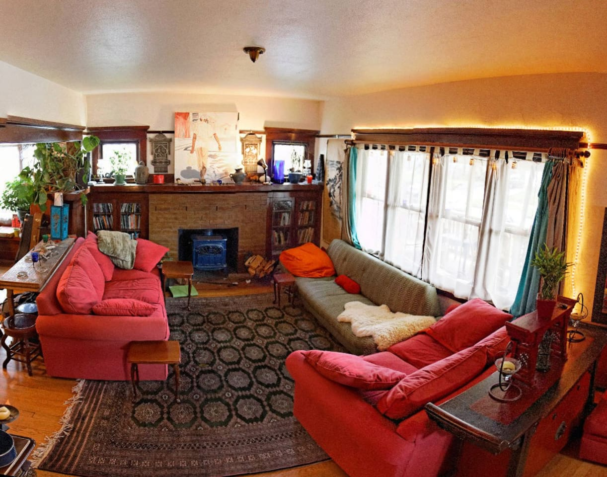 Shared Livingroom, woodstove, and books galore to read whilst here!