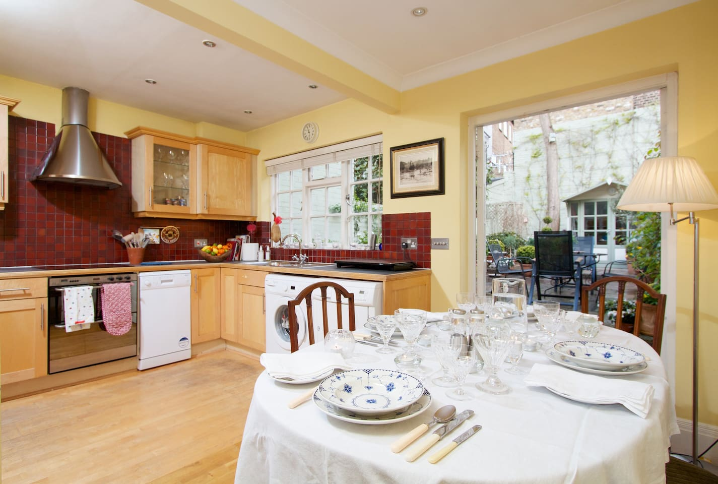 The dining area and kitchen overlooking the garden