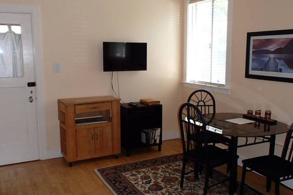 Back door opens out to lovely (website hidden) with basic cable and DVD player included.