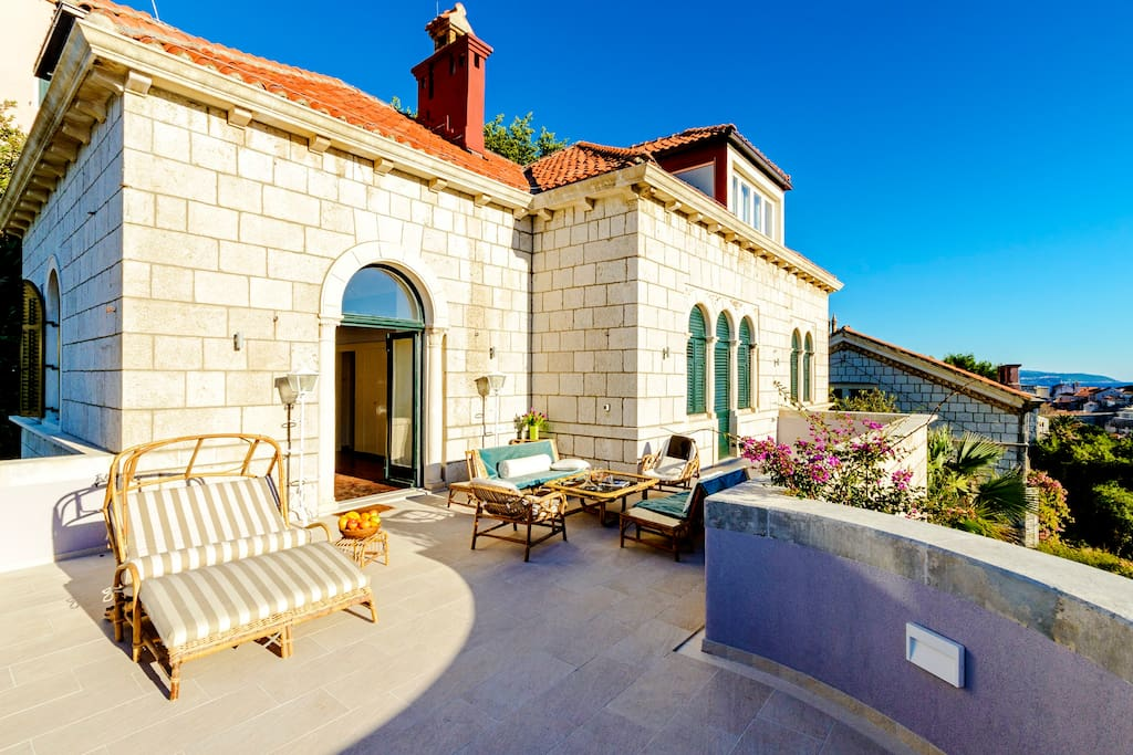 Beautiful terrace overlooking the Old City of Dubrovnik.