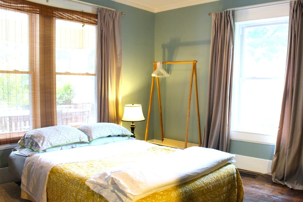 The room has a queen sized bed with pillow-top mattress cover for extra comfort.