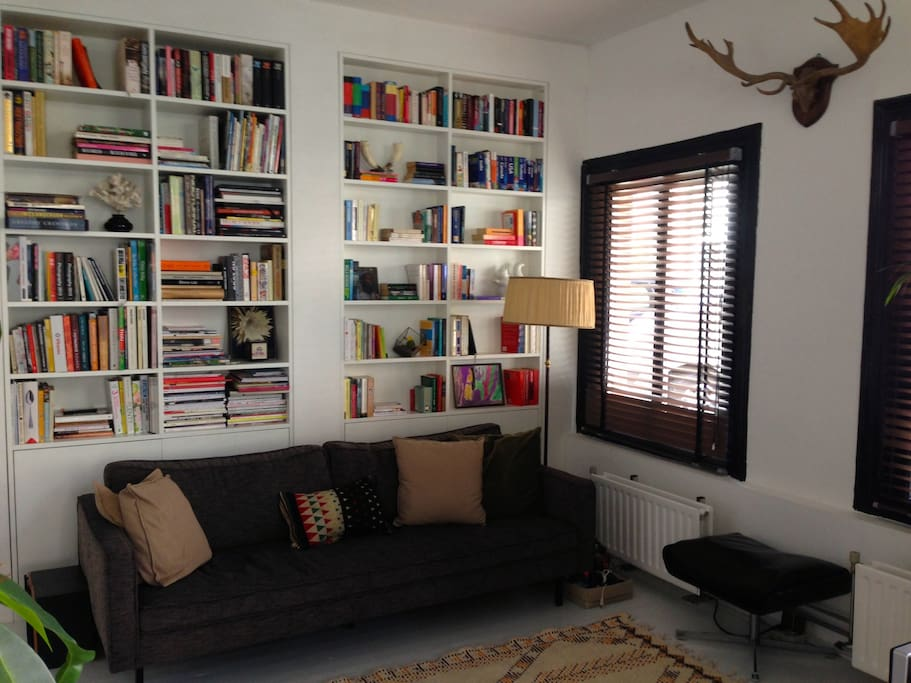 Lots of books, photo books, art books, English and American fiction.