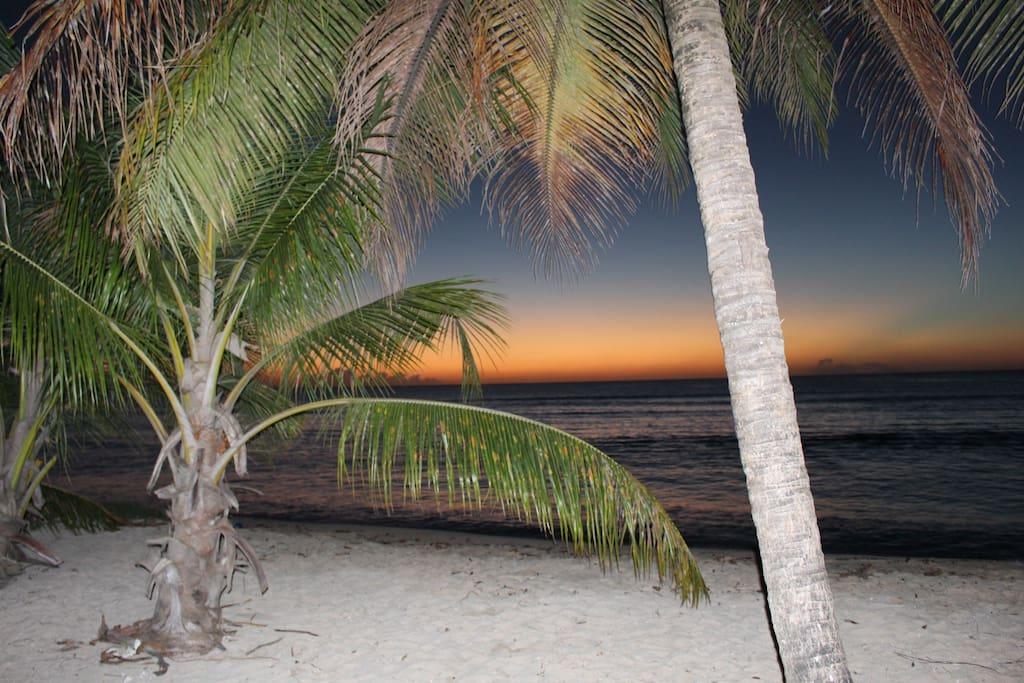 sunset on the beach 5min walking