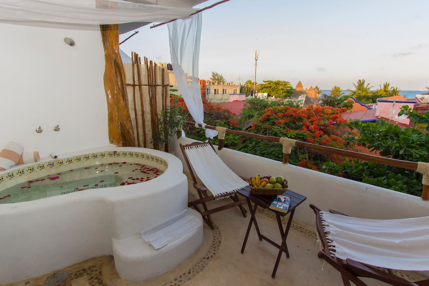 Your private terrace with ocean view and hot tub!