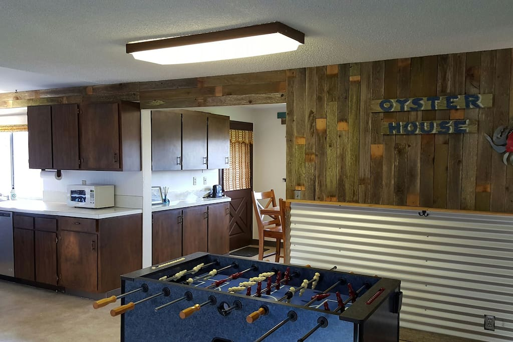 Play Foosball in family room/kitchen area