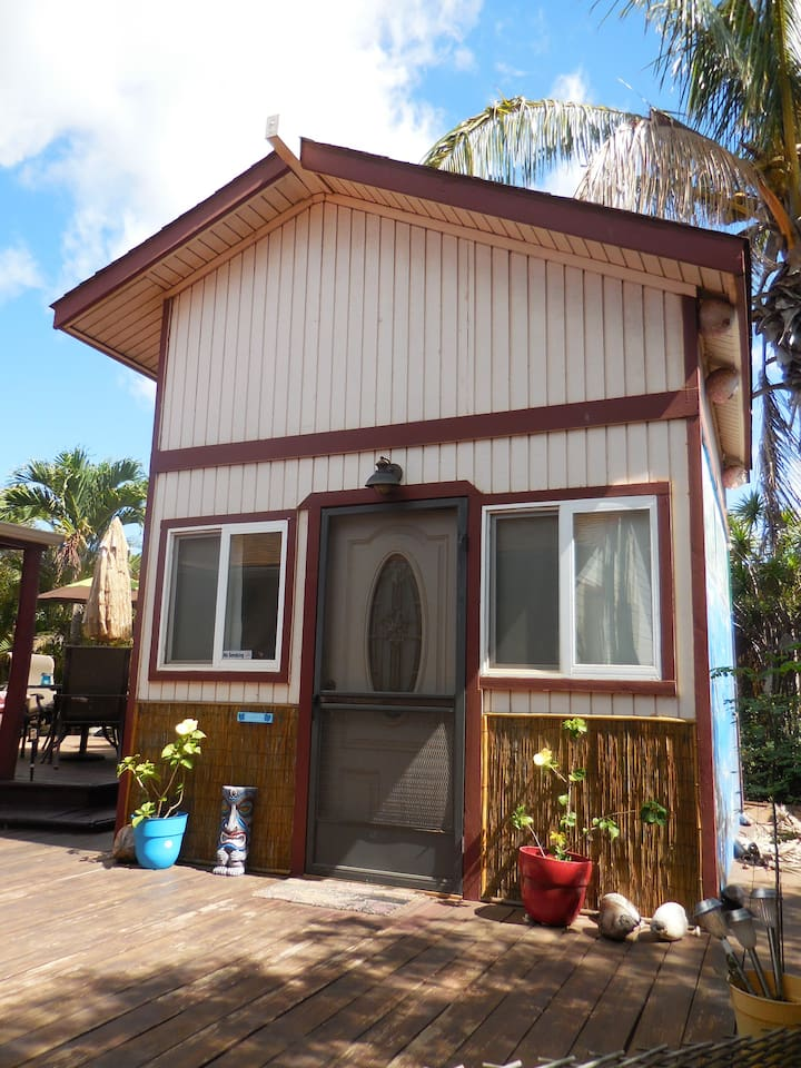 """Exterior of your """"Tiny House"""" Two story with upper Sleeping Loft (Full size real Bed, plus a main floor Futon. (private detached Bathroom. There is No kitchen, & no cooking capacity."""
