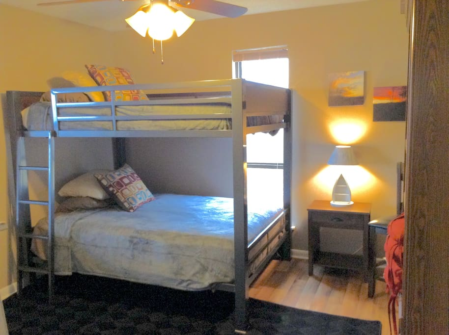 Our full size bunk beds can sleep up to 4 people.