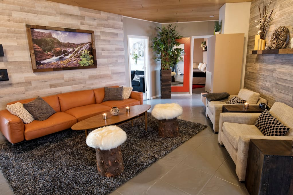 Living room with new furniture and decoration